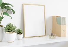 Golden frame leaning on white shelve in interior with plants and books mockup 3D rendering. Golden frame leaning on white shelve in bright interior with plants royalty free illustration