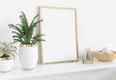 Golden frame leaning on white shelve in interior with plants and decorations mockup 3D rendering. Golden frame leaning on white shelve in bright interior with stock illustration