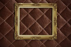 Golden frame on the  leather Royalty Free Stock Photography