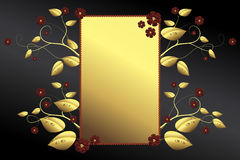 Golden frame, leaves, blossoms on black background. A golden frame with golden leaves and red blossoms on a dark background Royalty Free Stock Photos