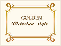 Golden frame luxury Victorian style, floral border decoration. Vector Stock Photo