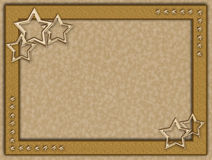 Golden frame with metal stars royalty free illustration