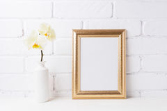 Golden  frame mockup with soft yellow orchid in vase Royalty Free Stock Photo