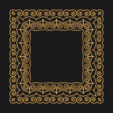 Golden frame in the modern mono line style on a dark background. Outline pattern with swirls. Place for text for design  monogram. Royalty Free Stock Photography