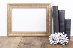 Golden Frame With old Books Royalty Free Stock Photo