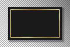 Free Golden Frame On Black Plate Isolated On Transparent Background With Shadow. Gold Border With Glow Shine On Black Rectangle. Vector Stock Images - 173506954