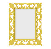 Golden frame over white Stock Photo