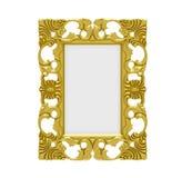 Golden frame over white Stock Photos