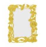 Golden frame over white Stock Image