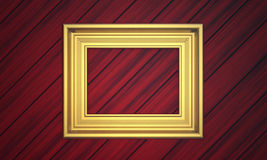 Golden frame on paneling Stock Photography