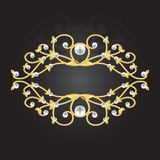 Golden frame with pearls Royalty Free Stock Image