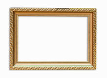 Golden frame picture on isolated white. Royalty Free Stock Photography