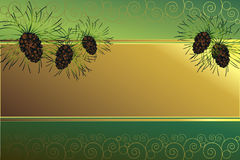 Golden frame with pine cones. Golde frame on a green background with pine cones and golden spirals Royalty Free Stock Photos