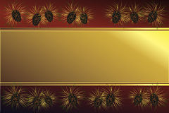 Golden frame with pine cones. Golde frame on a red background with pine cones Royalty Free Stock Images