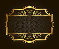 Golden frame for placing your picture or text behind. Vintage gold background, vector antique on black Stock Photo