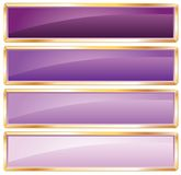 Golden frame purple. Violet long buttons with golden frame Royalty Free Stock Image