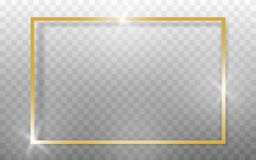 Golden frame realistic on transparant background. Vector stock illustration