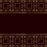 Golden frame on red background. Ornamental golden frame on dark red background Royalty Free Stock Photo