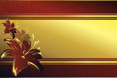 Golden frame with red blossoms. Golden frame on a red background with blossoms in red and gold Stock Images