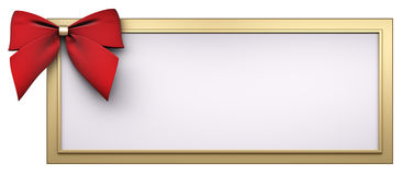 Golden frame with red ribbon bow 3d render Royalty Free Stock Photo