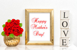 Golden frame red roses. Happy Mothers Day Stock Photos