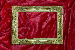 Golden frame on red Royalty Free Stock Photography