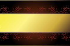 Golden frame on redbrown background. Golden frame on a brown background with dark red spirals Stock Photo