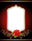 Golden frame and rose. Golden frame and red rose Stock Photo