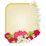 Golden frame with  roses and jasmine vector. Golden frame with roses and jasmine greeting card festive background place for text vector illustration Stock Image