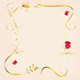 Golden frame with roses Royalty Free Stock Photo