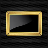 Golden frame with screws Royalty Free Stock Photos