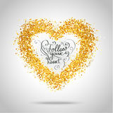 Golden frame in the shape of a heart Royalty Free Stock Photo