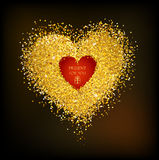 Golden frame in the shape of a heart Royalty Free Stock Photography