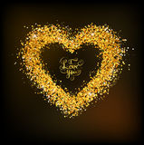 Golden frame in the shape of a heart Stock Photos