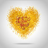Golden frame in the shape of a heart Stock Photography