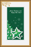 Golden frame with shining star and Christmas tree Royalty Free Stock Photography