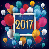Golden 2017 Frame Silvester Night Colored Balloons. Colored balloons with frame and golden numbers 2017 on the blue background vector illustration