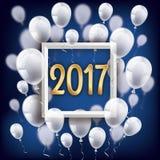 Golden 2017 Frame Silvester Night White Balloons. White balloons with frame and golden numbers 2017 on the blue background Stock Photos