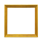 Golden frame. Square gold frame isolated on white Stock Photography