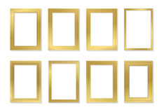 Golden frame template set for pictures and photos. Isolated vector. Royalty Free Stock Images