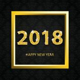 2018 Happy New Year Golden Frame Black Ornaments Wallpaper. Golden frame and text Happy New Year 2018 on the black wallpaper with ornaments vector illustration