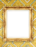 Golden frame on Thai style buddha wall Stock Photo