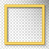 Golden frame on transparent background. Decorative frame or bord stock illustration
