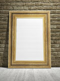 Golden frame with vintage wall background. 3d illustration Royalty Free Stock Image