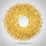 Golden frame on white background. Gold sparkles on white background. Gold glitter background stock illustration