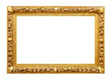 Golden frame on white. Golden picture frame isolated on white stock photography