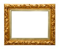 Golden frame on white. Golden picture frame on white stock images