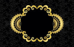 Golden Frame With Curls Stock Image
