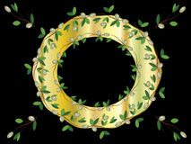 Free Golden Frame With Olive  Branches Royalty Free Stock Photos - 20307148