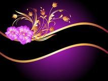 Golden frame wth rose Stock Image